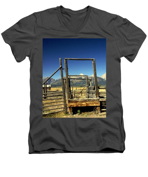 Men's V-Neck T-Shirt featuring the photograph Teton Ranch by Marty Koch