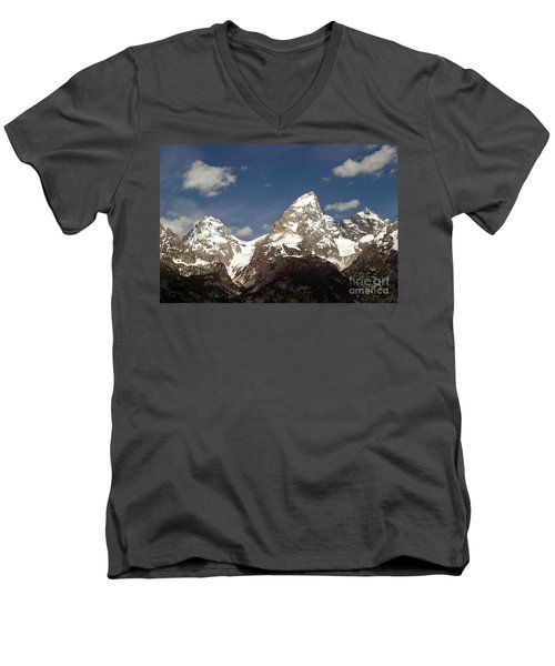 Men's V-Neck T-Shirt featuring the photograph Teton Tips by Living Color Photography Lorraine Lynch