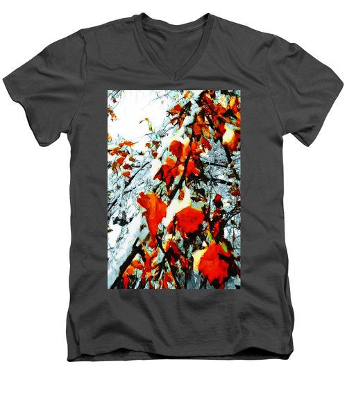 Men's V-Neck T-Shirt featuring the photograph The Autumn Leaves And Winter Snow by Steve Taylor