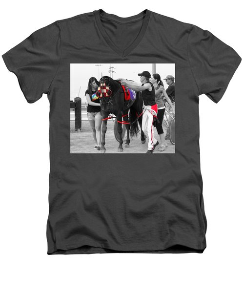 Men's V-Neck T-Shirt featuring the photograph The Backside by Davandra Cribbie