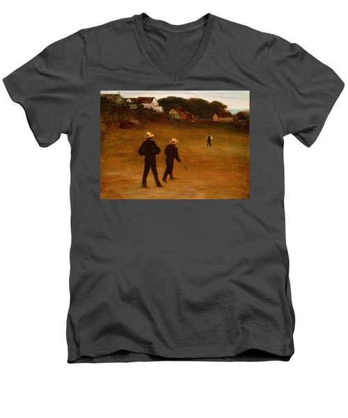 The Ball Players Men's V-Neck T-Shirt by William Morris Hunt
