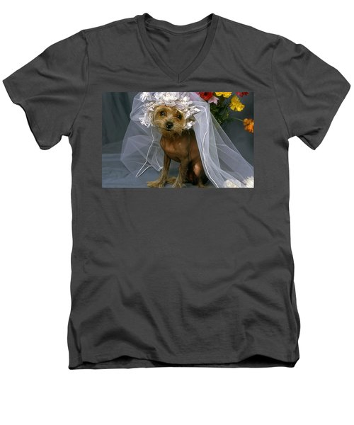 The Bride Is A Real Dog Men's V-Neck T-Shirt