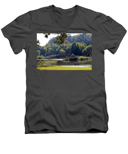 Men's V-Neck T-Shirt featuring the photograph The Bridge by Kathy  White