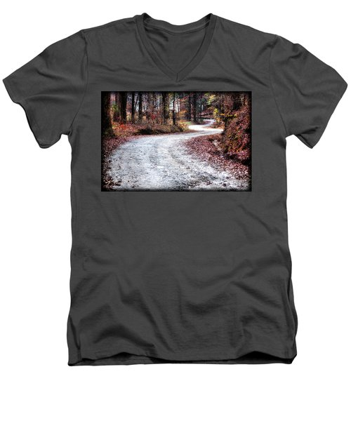 Men's V-Neck T-Shirt featuring the photograph The Broken Road by Lynne Jenkins