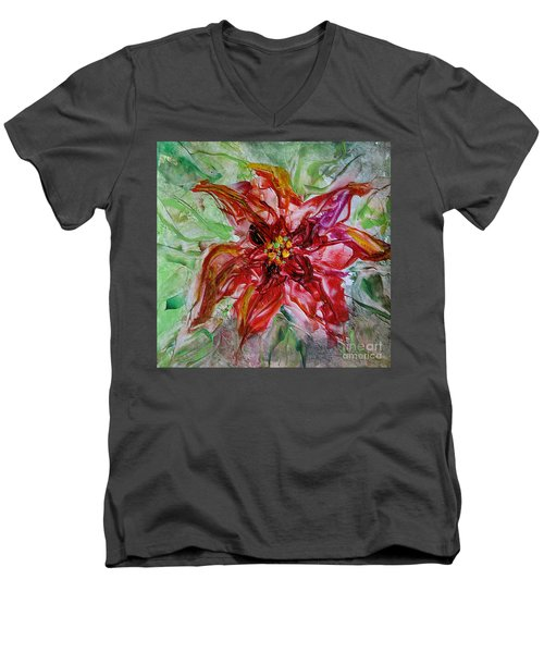 Men's V-Neck T-Shirt featuring the painting The Christmas Poinsettia by Dragica  Micki Fortuna
