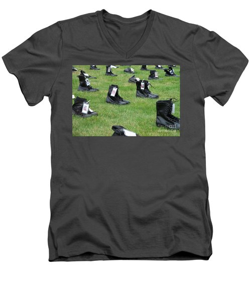 Men's V-Neck T-Shirt featuring the photograph The Cost Of War by Chalet Roome-Rigdon