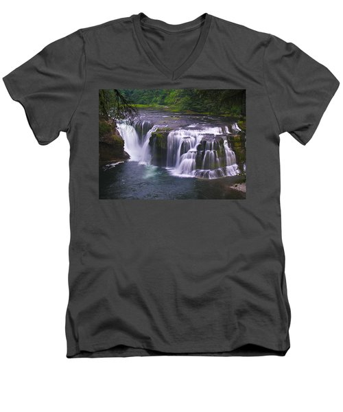 Men's V-Neck T-Shirt featuring the photograph The Falls by David Gleeson