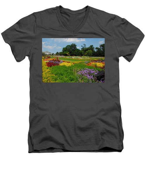 Men's V-Neck T-Shirt featuring the photograph The Gardens Of The Conservatory by Lynn Bauer