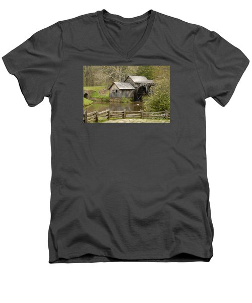 The Old Grist Mill Men's V-Neck T-Shirt by Cindy Manero
