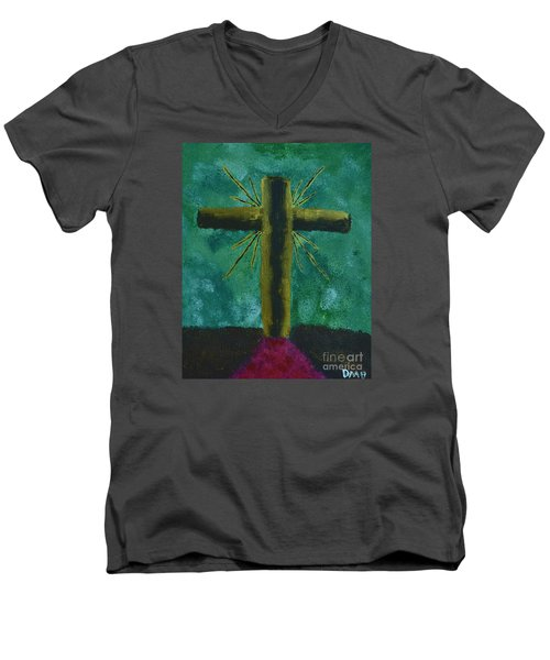 Men's V-Neck T-Shirt featuring the painting The Old Rugged Cross by Donna Brown