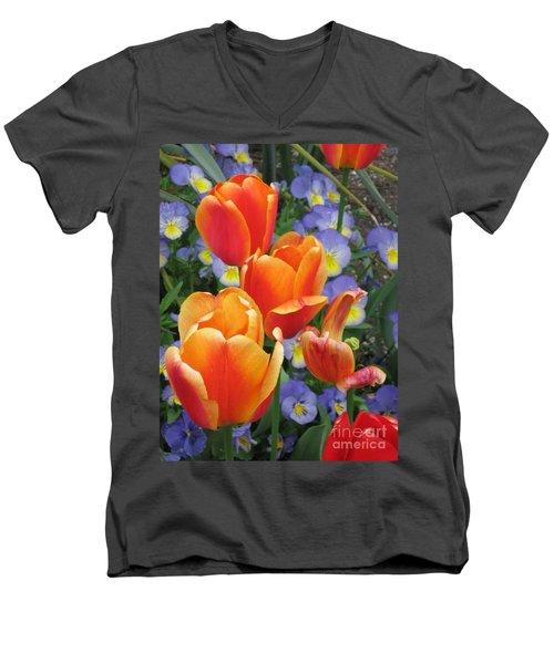The Secret Life Of Tulips - 2 Men's V-Neck T-Shirt by Rory Sagner