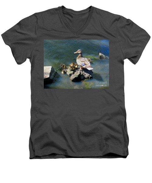 The Swimming Lesson Men's V-Neck T-Shirt by Rory Sagner