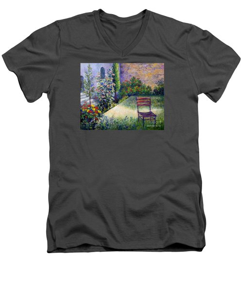 Men's V-Neck T-Shirt featuring the painting The Unseen Guest by Lou Ann Bagnall