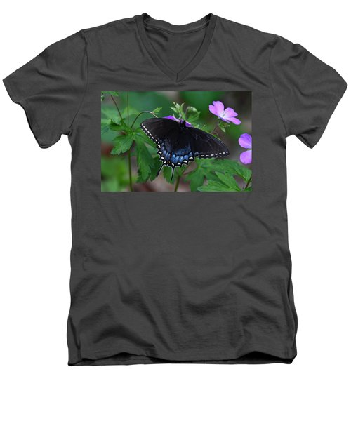 Tiger Swallowtail Female Dark Form On Wild Geranium Men's V-Neck T-Shirt