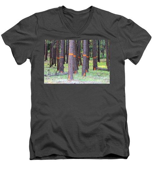 Timber Marking Men's V-Neck T-Shirt by Pamela Walrath