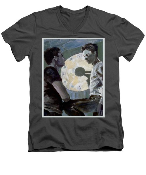 Men's V-Neck T-Shirt featuring the painting Time by Rene Capone