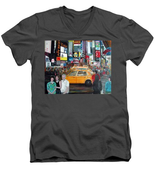 Men's V-Neck T-Shirt featuring the painting Times Square by Anna Ruzsan