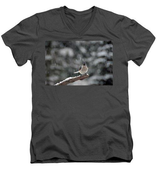 Titmouse Endures Snowstorm Men's V-Neck T-Shirt by Mike Martin