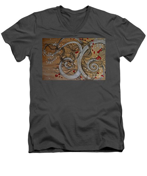 Men's V-Neck T-Shirt featuring the painting Today Forever by Sandro Ramani