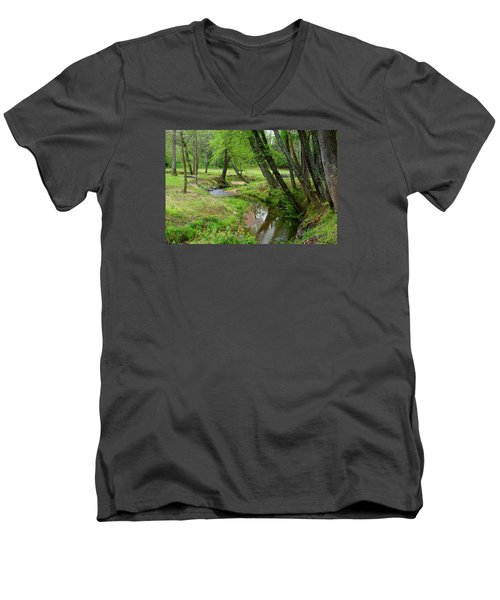 Men's V-Neck T-Shirt featuring the photograph Toms Creek In Early Spring by Kathryn Meyer
