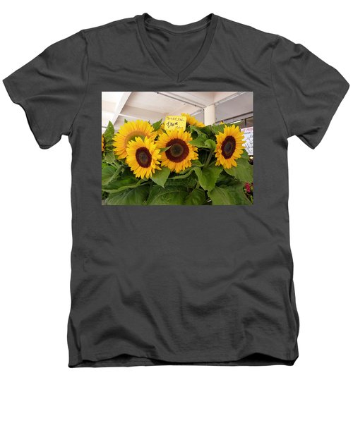 Men's V-Neck T-Shirt featuring the photograph Tournesol by Carla Parris