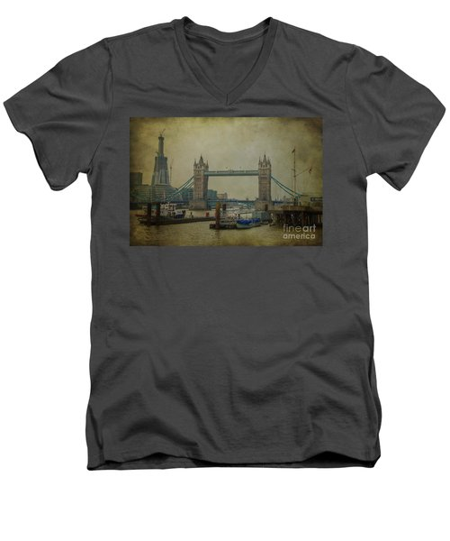Men's V-Neck T-Shirt featuring the photograph Tower Bridge. by Clare Bambers