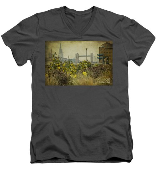 Men's V-Neck T-Shirt featuring the photograph Tower Bridge In Springtime. by Clare Bambers