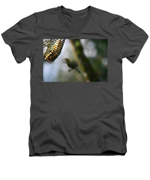 Men's V-Neck T-Shirt featuring the photograph Townsend Warbler In Flight by Kym Backland