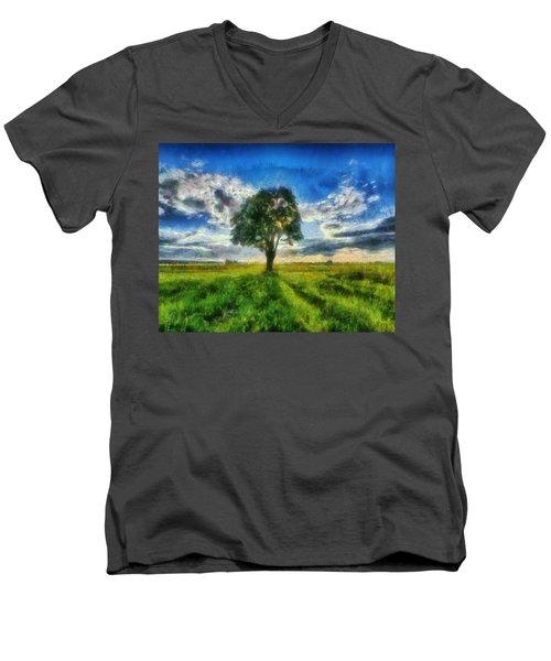 Men's V-Neck T-Shirt featuring the painting Tree Of Life by Joe Misrasi