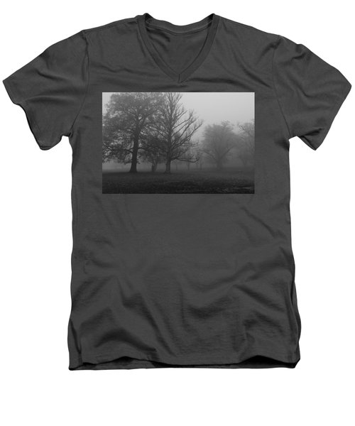 Men's V-Neck T-Shirt featuring the photograph Trees And Fog by Maj Seda