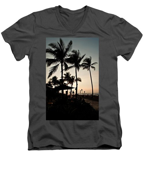 Men's V-Neck T-Shirt featuring the photograph Tropical Island Silhouette Beach Sunset by Valerie Garner