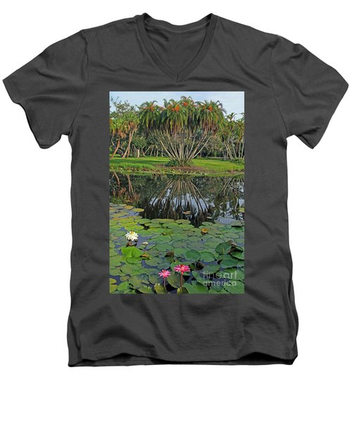 Men's V-Neck T-Shirt featuring the photograph Tropical Splendor by Larry Nieland