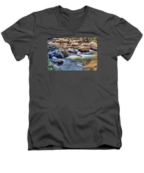 Men's V-Neck T-Shirt featuring the digital art Trout Stream by Mary Almond