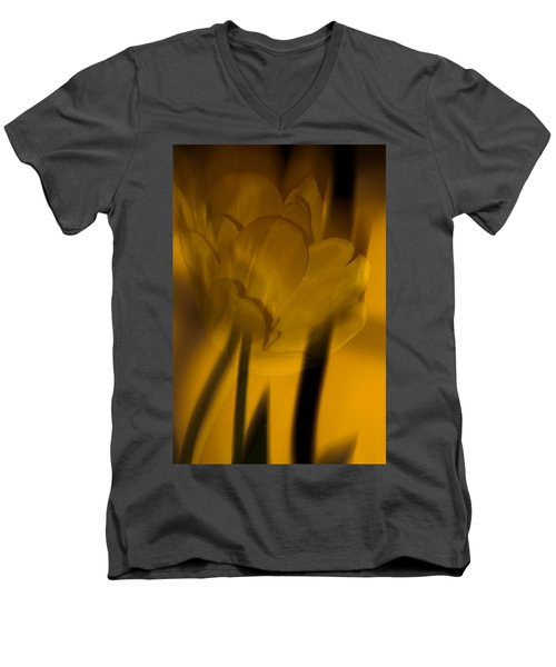 Men's V-Neck T-Shirt featuring the photograph Tulip Abstract by Ed Gleichman