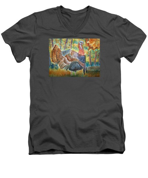 Turkey In Fall Men's V-Neck T-Shirt