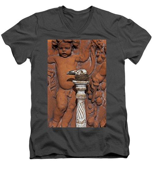 Turkey Vulture Skull Men's V-Neck T-Shirt by Garry Gay