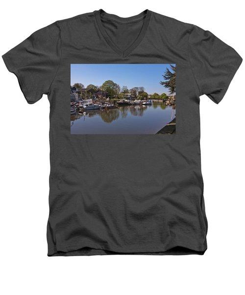 Men's V-Neck T-Shirt featuring the photograph Twickenham Marina by Maj Seda