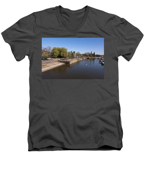 Men's V-Neck T-Shirt featuring the photograph Twickenham On Thames by Maj Seda
