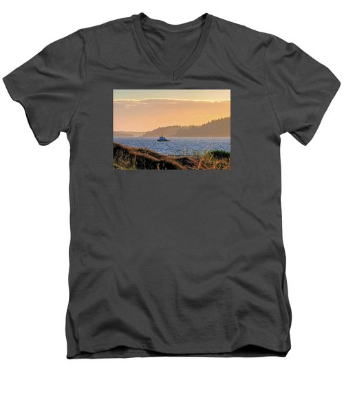 Men's V-Neck T-Shirt featuring the photograph Twilight Tug -chambers Bay Golf Course by Chris Anderson