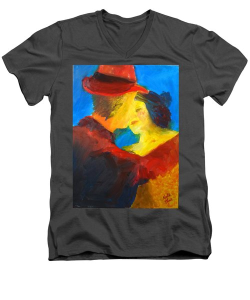 Men's V-Neck T-Shirt featuring the painting Two Am Tango by Keith Thue