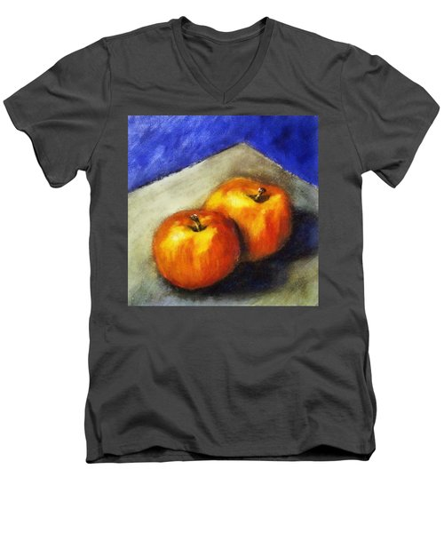 Two Apples With Blue Men's V-Neck T-Shirt