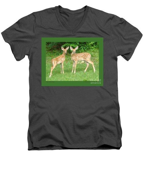 Two Little Deer Men's V-Neck T-Shirt by Patricia Overmoyer
