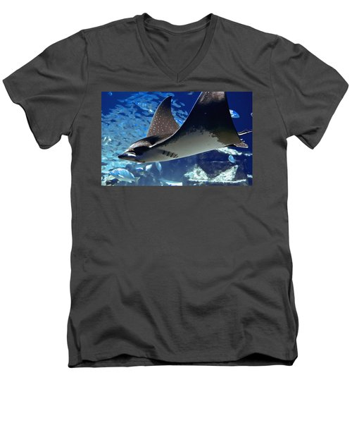 Underwater Flight Men's V-Neck T-Shirt by DigiArt Diaries by Vicky B Fuller