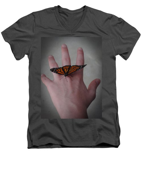 Men's V-Neck T-Shirt featuring the photograph Upon My Hand by Julia Wilcox
