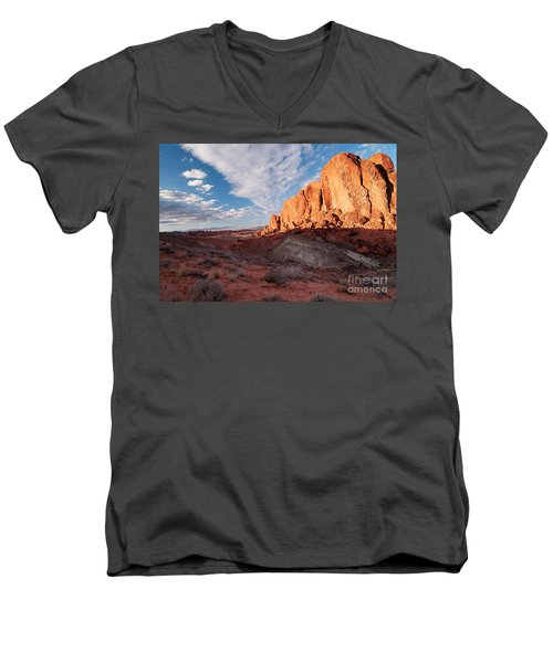 Valley Of Fire Men's V-Neck T-Shirt by Art Whitton