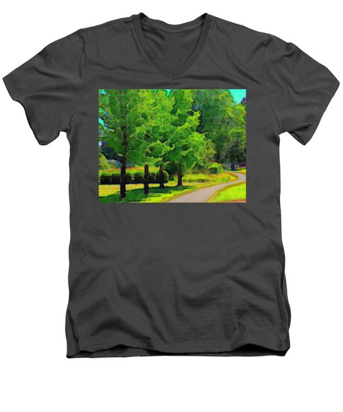 Men's V-Neck T-Shirt featuring the mixed media Van Gogh Trees by Terence Morrissey