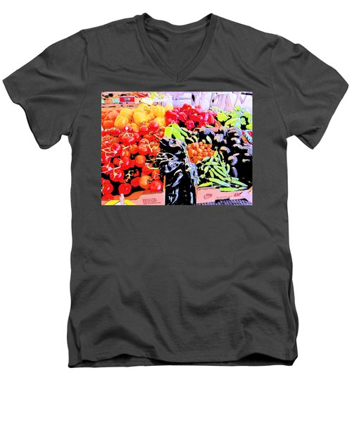 Men's V-Neck T-Shirt featuring the photograph Vegetables On Display by Kym Backland
