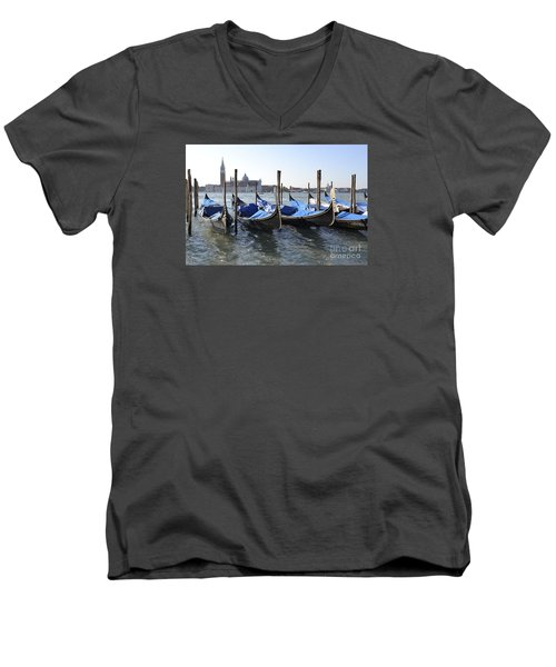 Men's V-Neck T-Shirt featuring the photograph Venice Gondolas by Rebecca Margraf