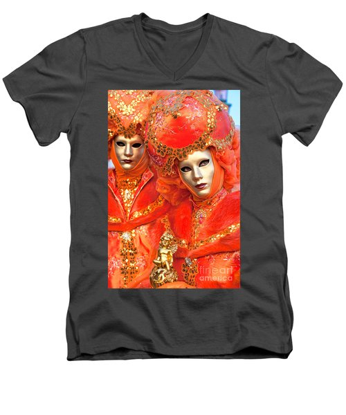 Men's V-Neck T-Shirt featuring the photograph Venice Masks by Luciano Mortula