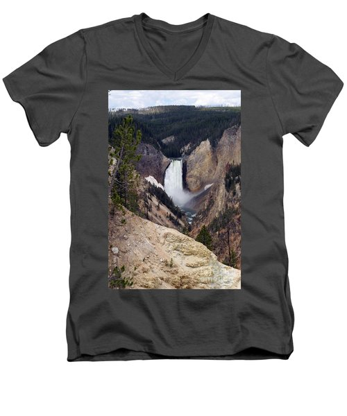 Men's V-Neck T-Shirt featuring the photograph Vertical Lower Falls Of Yellowstone by Living Color Photography Lorraine Lynch